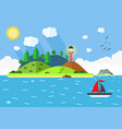 island in the sea with lighthouse hill tree and vector image vector image