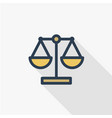 justice and law symbol scales thin line flat vector image vector image