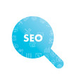 line icons in magnifier shape seo vector image vector image