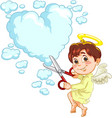 little baby angel with scissors vector image vector image