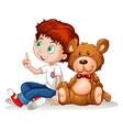 Little boy and teddy bear vector image