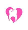 Logo Dental Healthy Care Tooth Love Protection vector image vector image