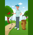 man playing golf vector image vector image