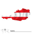 Map of Austria with flag vector image