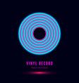 neon vinyl retro record album cover or template vector image vector image