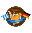 oktoberfest label with traditional drinks and food vector image vector image