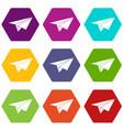 paper plane icon set color hexahedron vector image vector image