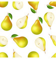 realistic detailed 3d whole pear and slice vector image vector image