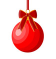 red christmas ball with ribbon and bow vector image