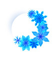 round frame with blue origami snowflakes and vector image vector image