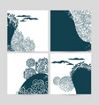 set doodle abstract nature pattern square vector image