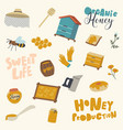 set icons honey production and beekeeping vector image