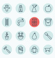 set of 16 farm icons includes stairway vector image vector image