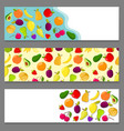 set of horizontal banners with fruits vector image