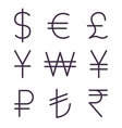 Set of regular currency signs vector image