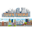 set of town theme vector image