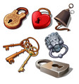 set of vintage padlocks and keys isolated on a vector image