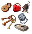 set of vintage padlocks and keys isolated vector image