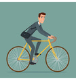 Simple cartoon of businessman riding a bicycle vector image