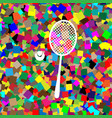 tennis racquet with ball sign white icon vector image vector image