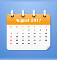 usa calendar for august 2017 vector image vector image