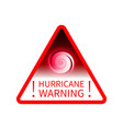 warning sign informing about hurricane vector image vector image
