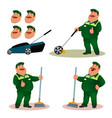 funny cartoon janitor with emotions set vector image