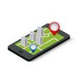 isometric 3d navigation sign and pin symbol on vector image