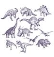 Dinosaurs drawings set vector image