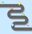 a winding road with road signs and flags vector image