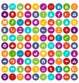 100 nursery school icons set color vector image vector image