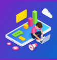 3d isometric digital marketing concept guy sets vector image