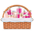 basket with skin grooming products vector image vector image