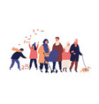 big family walking at autumn street together vector image