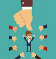 businessman and many hands with thumbs down vector image