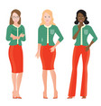 cartoon character of business women in smart suit vector image vector image