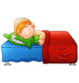 cartoon cute little boy sleeping in bed vector image vector image