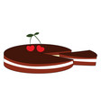 cherry biscuit on white background vector image vector image