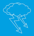 cloud lightning icon outline style vector image vector image