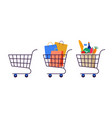 collection shopping carts empty cart with vector image