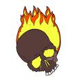 comic cartoon burning skull vector image vector image