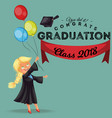 congrats class of 2018 flat colorful poster happy vector image vector image