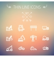 Construction thin line icon set vector image