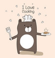 cute bear chef is cooking vector image