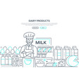 dairy products - line design style web banner vector image vector image