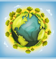 earth planet with forest and agriculture elements vector image vector image