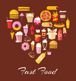 fast food in heart shape vector image vector image