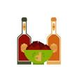 flat beer glass bottles nachos snacks vector image vector image