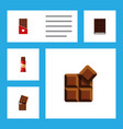 flat icon sweet set of chocolate cocoa dessert vector image vector image