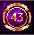 forty three years anniversary celebration with vector image vector image